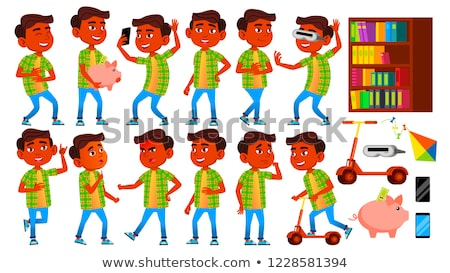 Boy Schoolboy Kid Poses Set Vector. Indian, Hindu. Asian. Primary School Child. Children. Smile. Wor Stock photo © pikepicture