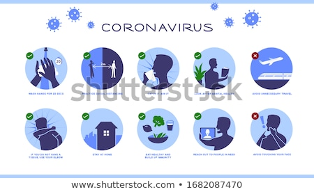 banner and corona icons set vector illustration stock photo © robuart