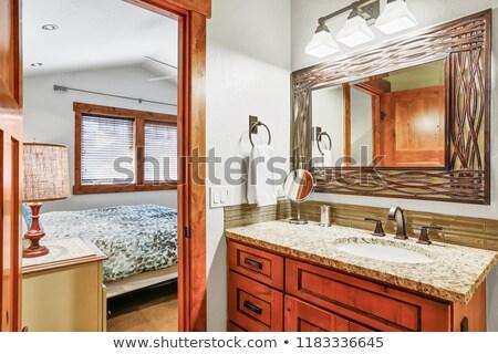 Zarif banyo granit karşı üst ahşap Stok fotoğraf © iriana88w