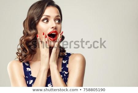 surpreendido · mulher · jovem · banheiro · cara · saúde · fundo - foto stock © acidgrey