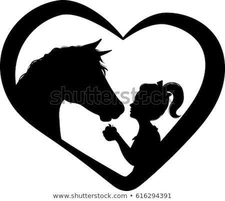 ló · sziluett · szív · hall · illusztráció · grafikus - stock fotó © blaskorizov