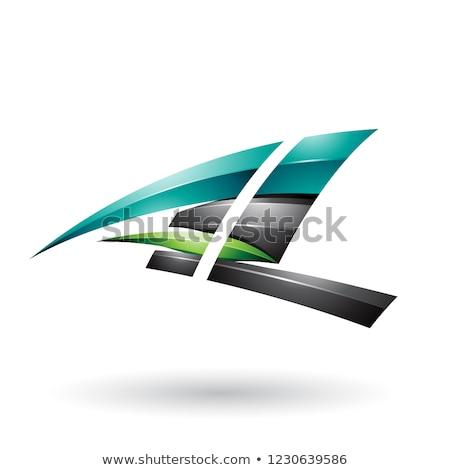 Fekete zöld dinamikus fényes repülés l betű Stock fotó © cidepix