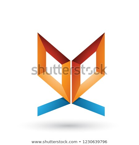 orange and blue double sided butterfly like letter e vector illu stock photo © cidepix