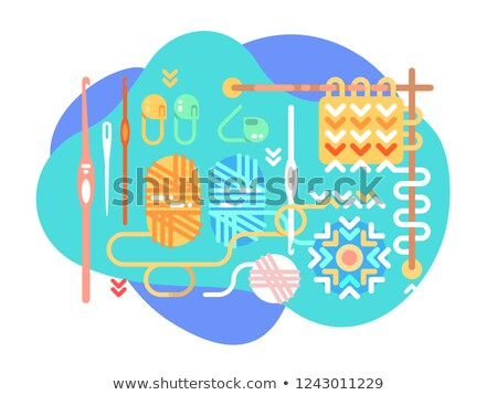 Set of tools and assets for crochet Stock photo © jossdiim