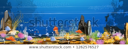 silhouette scene with stingray and fish underwater stock photo © colematt