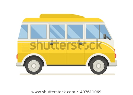Retro travel yellow van isolated on white background. Vector cartoon close-up illustration. Stock photo © Lady-Luck