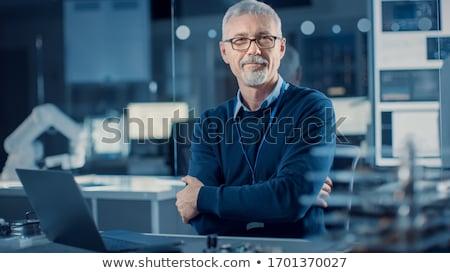 Portret ingenieur fabriek knap man Stockfoto © boggy