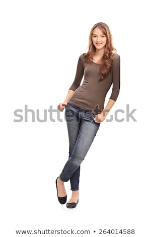 Beautiful young woman leaning on a wall Stock photo © deandrobot