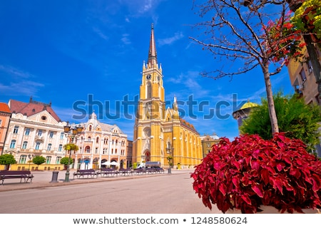 Novi Sad square and cathedral colorful view Stock photo © xbrchx