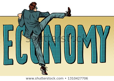 economy. business startup concept. Businessman moves over the obstacle Stock photo © studiostoks