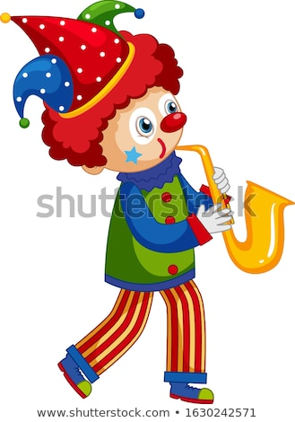 Stockfoto: Gelukkig · clown · spelen · saxofoon · illustratie · muziek