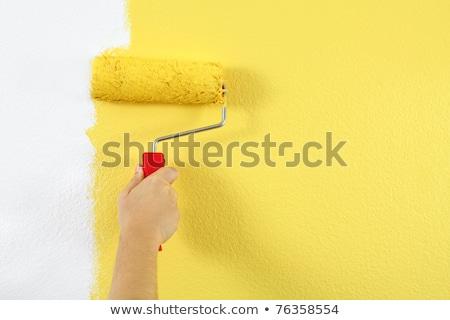 Nő festő festmény fal citromsárga festék Stock fotó © Kzenon