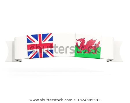 Banner with two square flags of United Kingdom and wales Stock photo © MikhailMishchenko