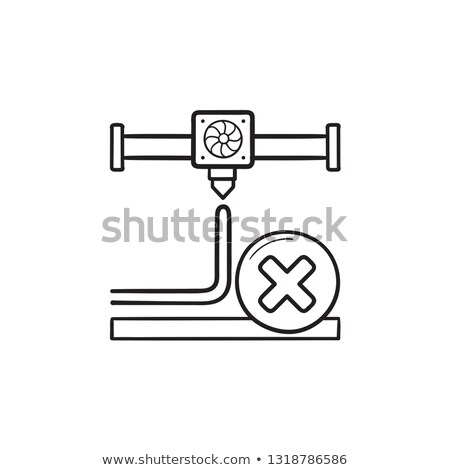 3D printing cancel hand drawn outline doodle icon. Stock photo © RAStudio