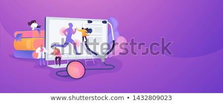 Sportowe muzyka lądowanie strona sportowiec uruchomiony Zdjęcia stock © RAStudio