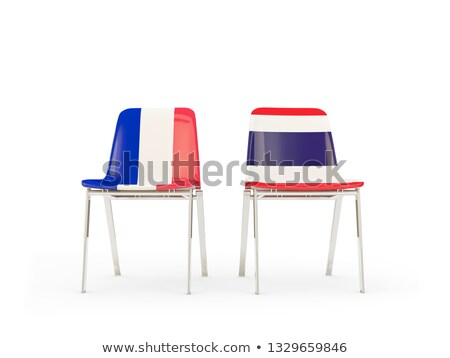 Two chairs with flags of France and thailand Stock photo © MikhailMishchenko