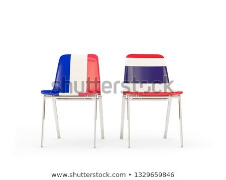 Dos sillas banderas Francia Tailandia aislado Foto stock © MikhailMishchenko
