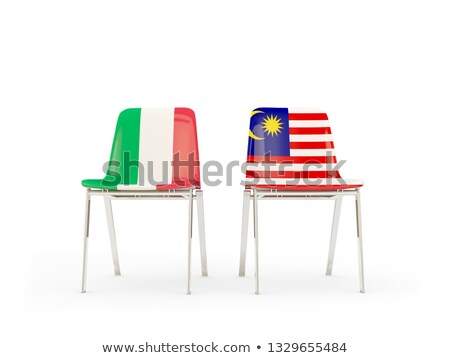 Iki sandalye bayraklar İtalya Malezya yalıtılmış Stok fotoğraf © MikhailMishchenko