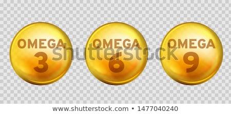 Stockfoto: Omega Fatty Acid, EPA, DHA Vector Drops Set