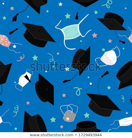 Сток-фото: Graduation Hat Seamless Pattern Vector. School Student Black Cap. Academic Ceremony. Cute Graphic Te