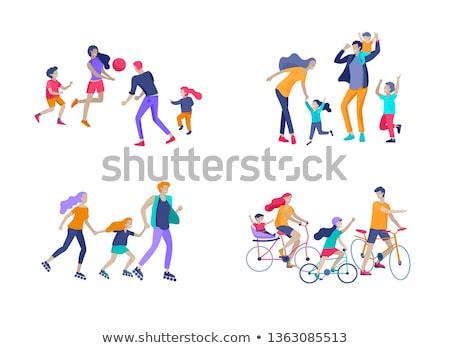 Zajęcia rodzinne szczęśliwy rodziców dzieci zestaw wektora Zdjęcia stock © robuart