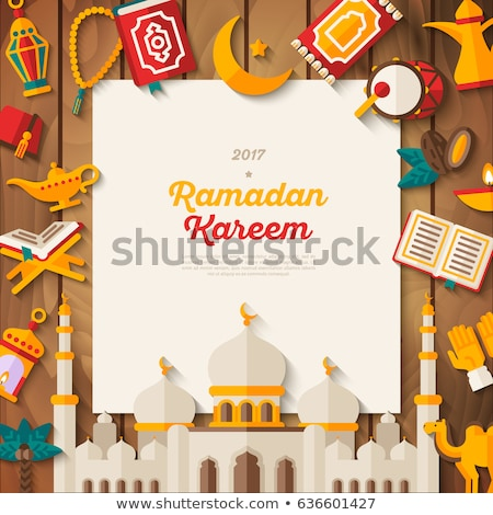 islamic moon and mosque banner with text space Stock fotó © SArts