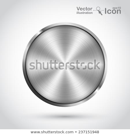 Stockfoto: realistic 3d brushed metal circular button