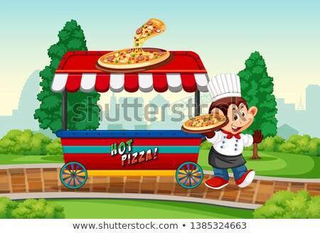 Monkey with pizza vender stock photo © colematt