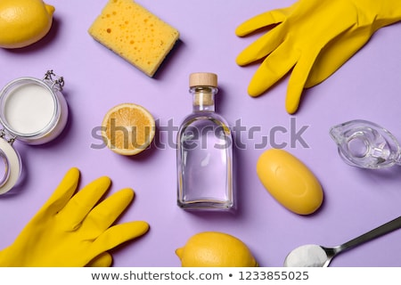 Background with eco friendly household cleaning supplies and leaves. Natural detergents. Products fo Stock photo © user_10144511