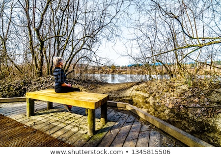 Stockfoto: Senior · vrouw · mooie · bos · park · gelukkig
