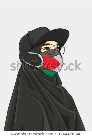 Árabe hijab conjunto menina ferimento Foto stock © toyotoyo