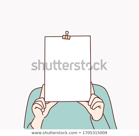 Person holding a paper in front of his face with doodle emoticon Stock photo © ra2studio