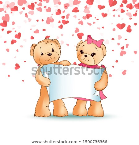 happy teddy bears family holding paper scroll stock photo © robuart
