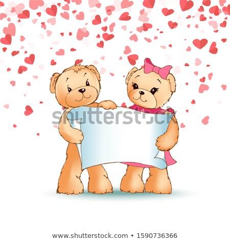 boldog · Valentin · nap · nap · poszter · galambfélék · tart - stock fotó © robuart