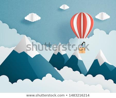 Aniversário balão de ar quente moderno colorido nuvens Foto stock © marish