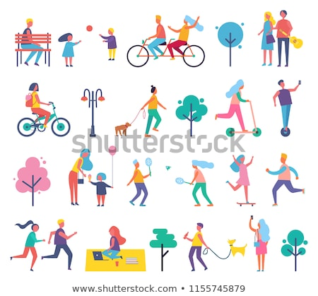 woman with kid walking man playing guitar vector stock photo © robuart