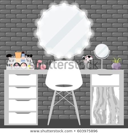 Molo szkła pocieszyć lustra krzesło tabeli Zdjęcia stock © robuart