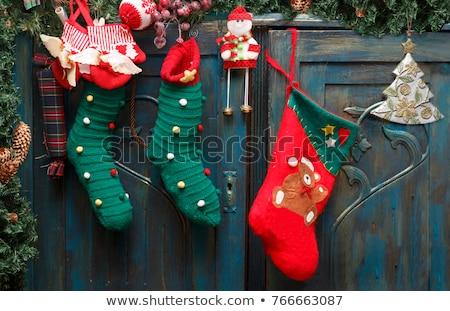 Christmas sokken deur illustratie grappig geschenk Stockfoto © adrenalina