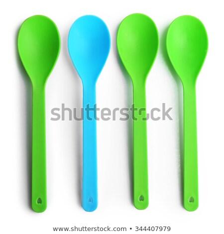 színes · műanyag · kanalak · fehér · terv · konyha - stock fotó © bborriss