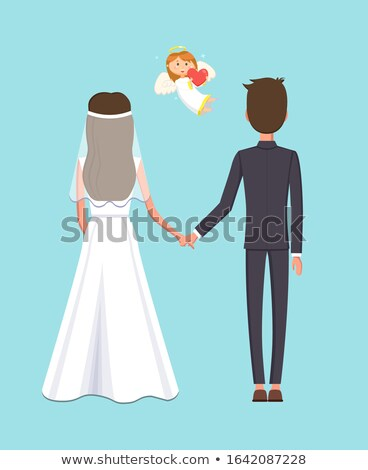 Holly Matrimony of Man and Woman, Cupid Angel Stock photo © robuart