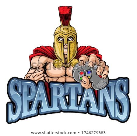 Spartaans trojaans gladiator mascotte krijger video games Stockfoto © Krisdog