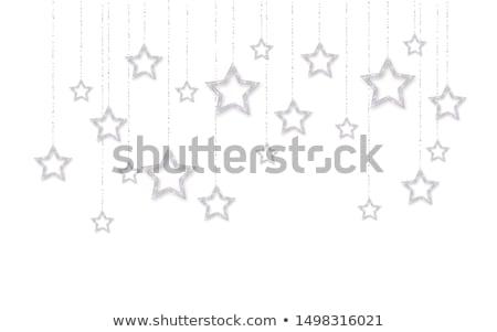 Silber glänzend glitter glühend Sterne isoliert Stock foto © olehsvetiukha
