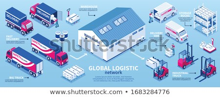 vector isometric forklift and warehouse workers stock photo © tele52