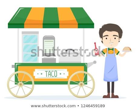 Adam tacos araba örnek sos Stok fotoğraf © lenm