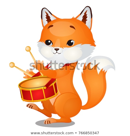 Small wild forest animal play on musical instrument. Fox with pioneer drum isolated on white backgro Stock photo © Lady-Luck