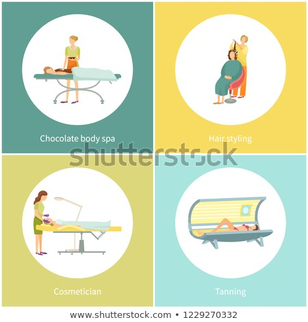 Tanning and Cosmetician Facial Therapy Set Vector Stock photo © robuart
