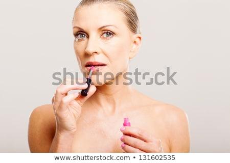 Starszy kobieta szminki piękna Zdjęcia stock © dolgachov