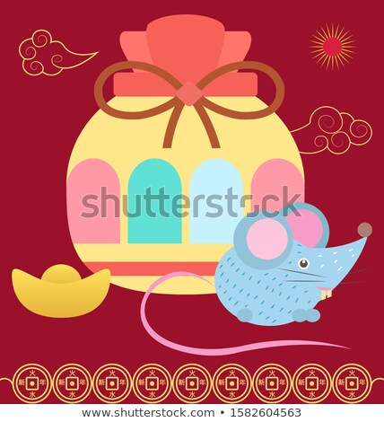 Colorful Fortune Bag, Hieroglyphs and Mouse Vector Stock photo © robuart