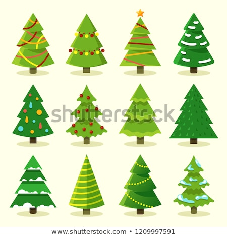 Christmas Trees with Garlands, Xmas Spruce Set Stock photo © robuart
