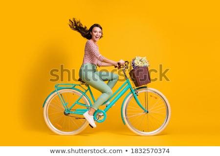 фото привлекательный вьющиеся волосы велосипед Солнцезащитные очки Сток-фото © vkstudio